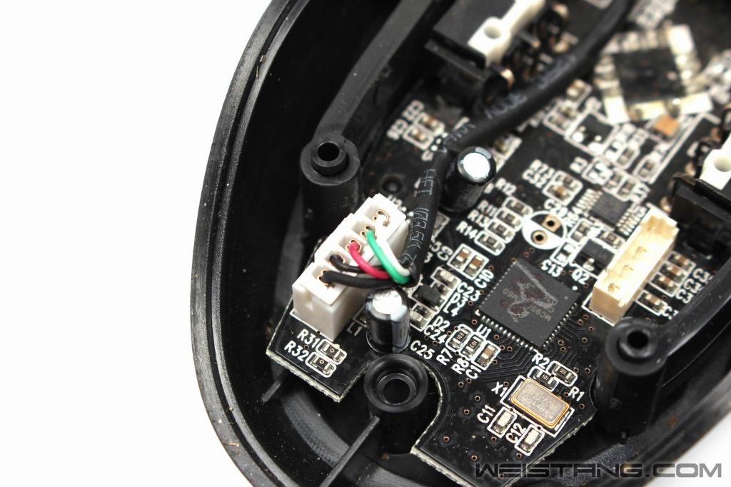雷蛇巨蝮蛇鼠标拆解 飞线电路图 维修换微动(图6)